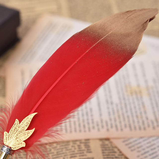 1Pc Cute Feather Ballpoint Pens 0.5mm Kawaii Ball Pens Gold Powder Pens For Writing School Office Supplies Novelty Stationery 4