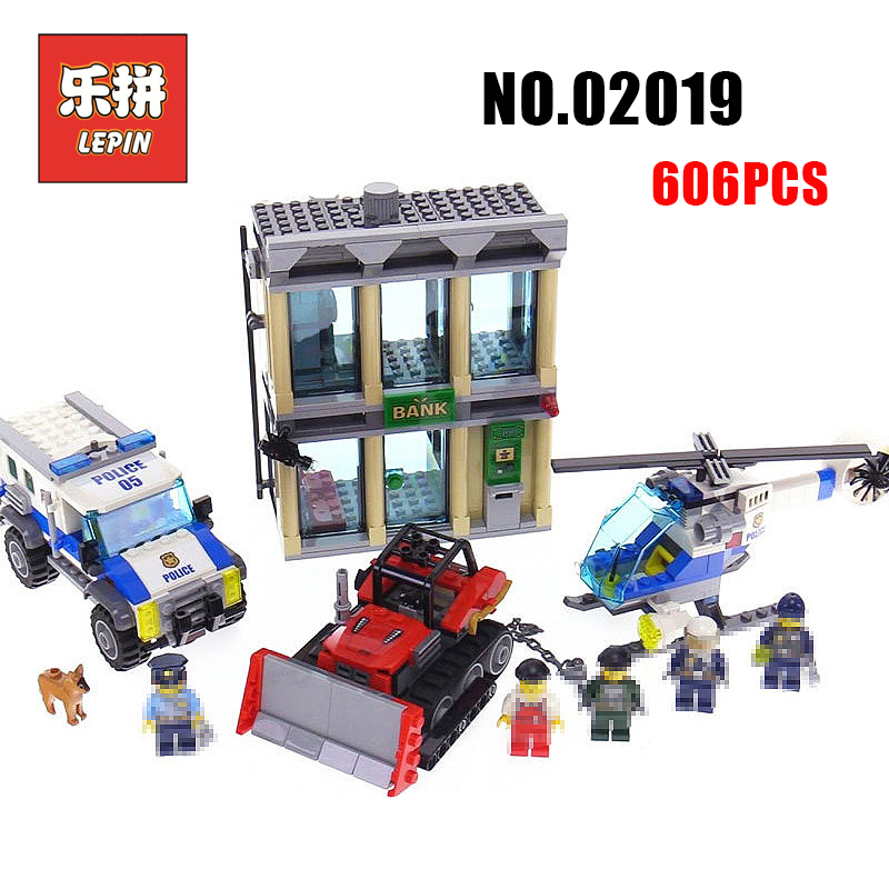 Lepin City Police 02019 the Bulldozer Break-in set 02020 Police Station 60140 60141 Helicopter Legoinglys Building Blocks Toy конструктор lepin cities ограбление на бульдозере 605 дет 02019