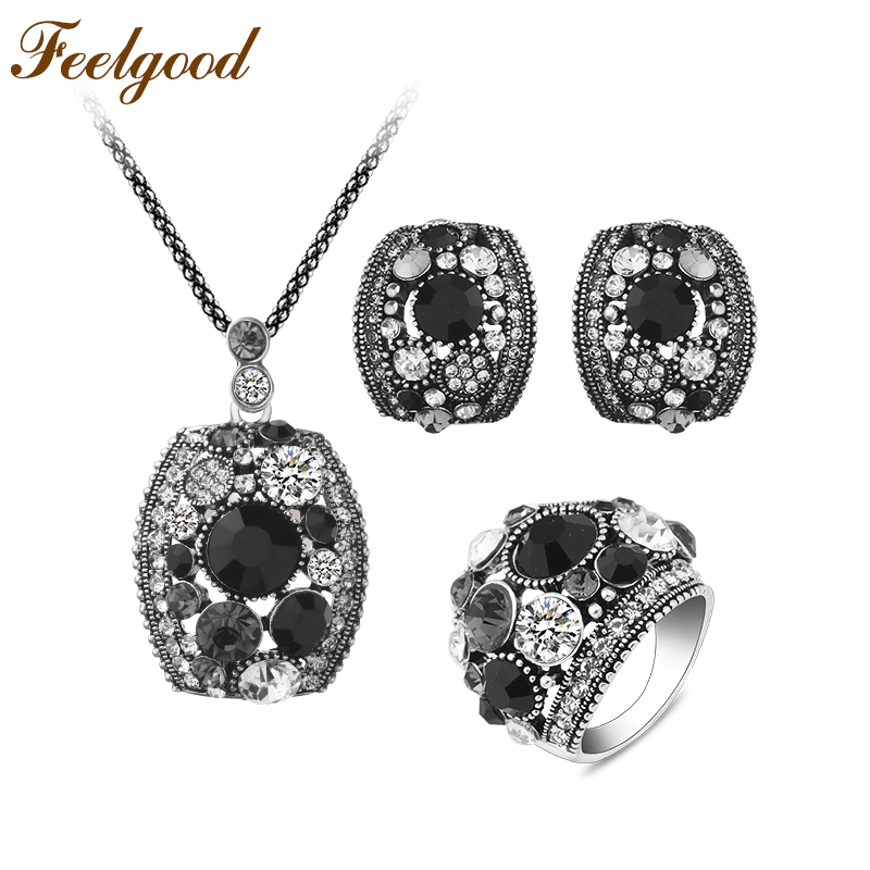 Feelgood Silver Color Vintage Jewellery Set White And Black Crystal Jewelry Sets With Necklace Stud Earrings Ring For Women Gift