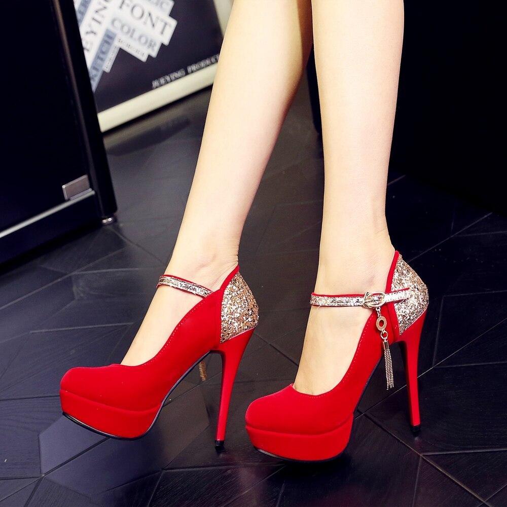 Bout Soirée Femmes Talons Chaussures Minces Sexy Hauts Noir 2018 Noir Femme De Pompe Rouge Troupeau Rond rouge q8wtOYH