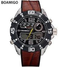 BOAMIGO hombres deportes relojes de marca hombres banda de goma de doble pantalla relojes hombres analógico digital LED relojes de pulsera de cuarzo 30 M impermeable