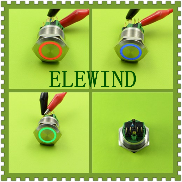 ELEWIND 25mm RGB Three LED color Momentary push button switch(PM251F-11E/RGB/12V/S 4pins for led) elewind 16mm 3 led color ring illuminated push button switch pm161f 10e j rgb 12v s 4pins for led