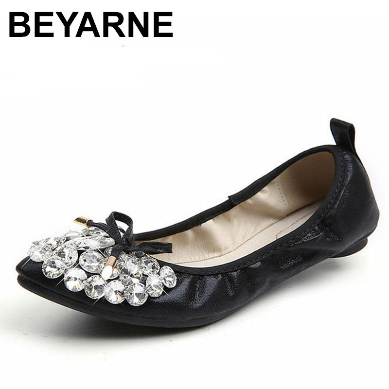 BEYARNE New Style Flat Shoes Women Casual Ballerina Shoes For Women Big Size 43 44 Soft Ladies Autumn Shoes Fashion Female flat women s shoes 2017 summer new fashion footwear women s air network flat shoes breathable comfortable casual shoes jdt103