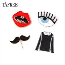 TAFREE Beard,Eyes,Clothes,Red lips Shaped Lapel Pins Environmental Alloy Brooches New 2018 Enamel Badge Fashion Jewelry