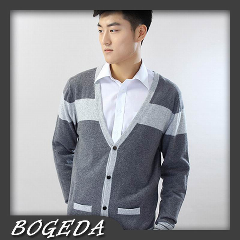 100%Cashmere Sweater Men Cardigan V-neck Gray Striped Fashion Style High Quality Natural Fabric Free Shipping Stock Clearance