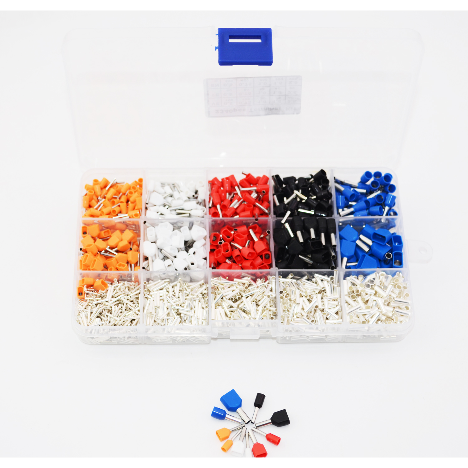 5 color 15 value 2340pcs/lot Bootlace Ferrules kit set Wire Crimp Connector Insulated Cord Pin End Terminal wholesal e1008 insulated cable cord end bootlace ferrule terminals tubular wire connector for 1 0mm2 wire 1000pcs