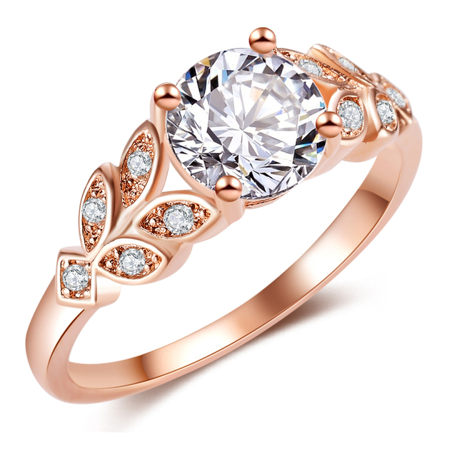 Women's Leaf Embellished Zircon Ring