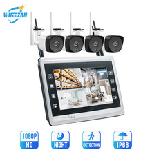 Home Security CCTV Camera System Wireless 4CH 12.5 Inch Display HD 1080P 20m Night Vision Plug Play Wifi Video Surveillance Kit цена 2017