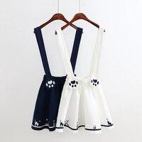 Spring Summer Mori Girl Dress Women S Cartoon Animal Embroidery Sleeveless Back Strap Female Vestidos Belt