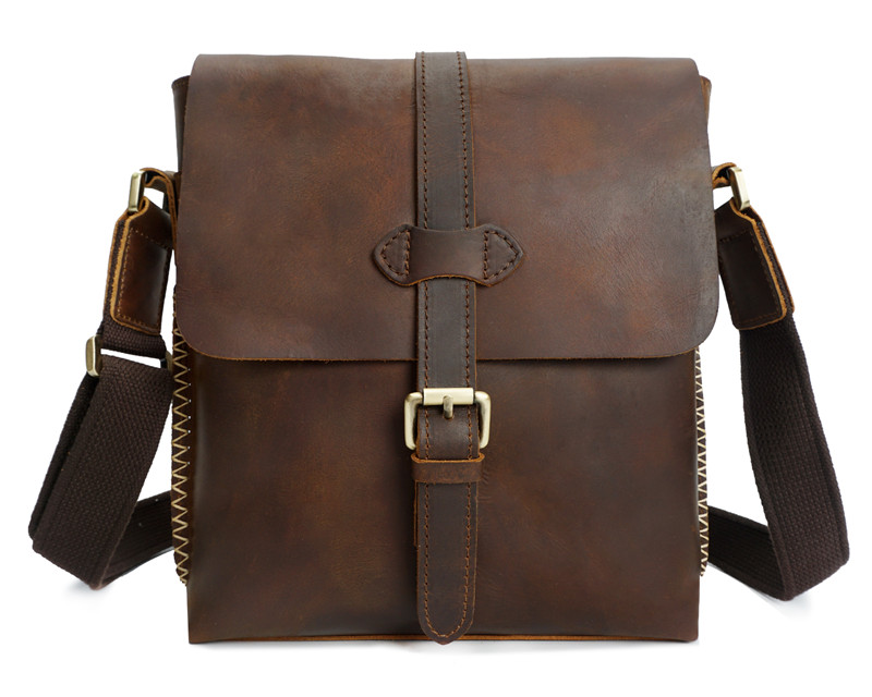 Nesitu High Quality Vintage Brown Thick Durable Genuine Leather Small Men Messenger Bags Crazy Horse Leather Shoulder Bag M8086 niuboa new casual leather shoulder bags genuine leather men chest bag high quality retro crazy horse small messenger bag for man