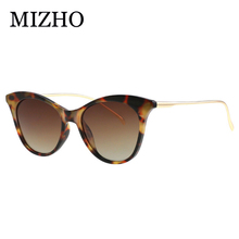 MIZHO Futuro Da Marca Do Metal Do Vintage Óculos Polarizados Óculos de Sol Mulheres olho de Gato Branco UV400 Pequeno Óculos de Sol Mulher Óculos Visual Clara