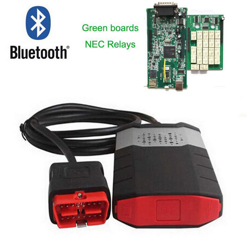 High quality Green double board 150e CDP pro 2015R3 with Bluetooth DS with Activator for OBD2 with bluetooth japen nec relay latest new vci vd tcs cdp pro bt obd2 obdii obd with best pcb chip green single board