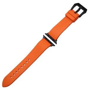 Image 2 - オレンジラバー時計バンドfluororubber用iwatch時計 38 ミリメートル 40 ミリメートル 42 ミリメートル 44 ミリメートルシリーズ 5 4 3 2 1 バンドスチールクラスプブレスレットメッキ