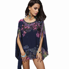 Boho Batwing Sleeve Chiffon Blouse Women Casual Floral Print Loose Kimono Shirts Big Size Beach Tunic Tops Shirt   Robe
