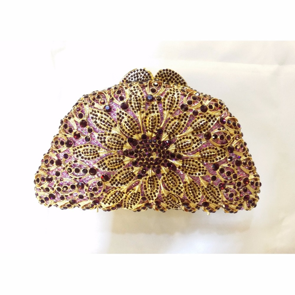 ФОТО 8351LE Purple Crystal Flower Floral Bridal Party Golden hollow Metal Evening purse clutch bag handbag case box