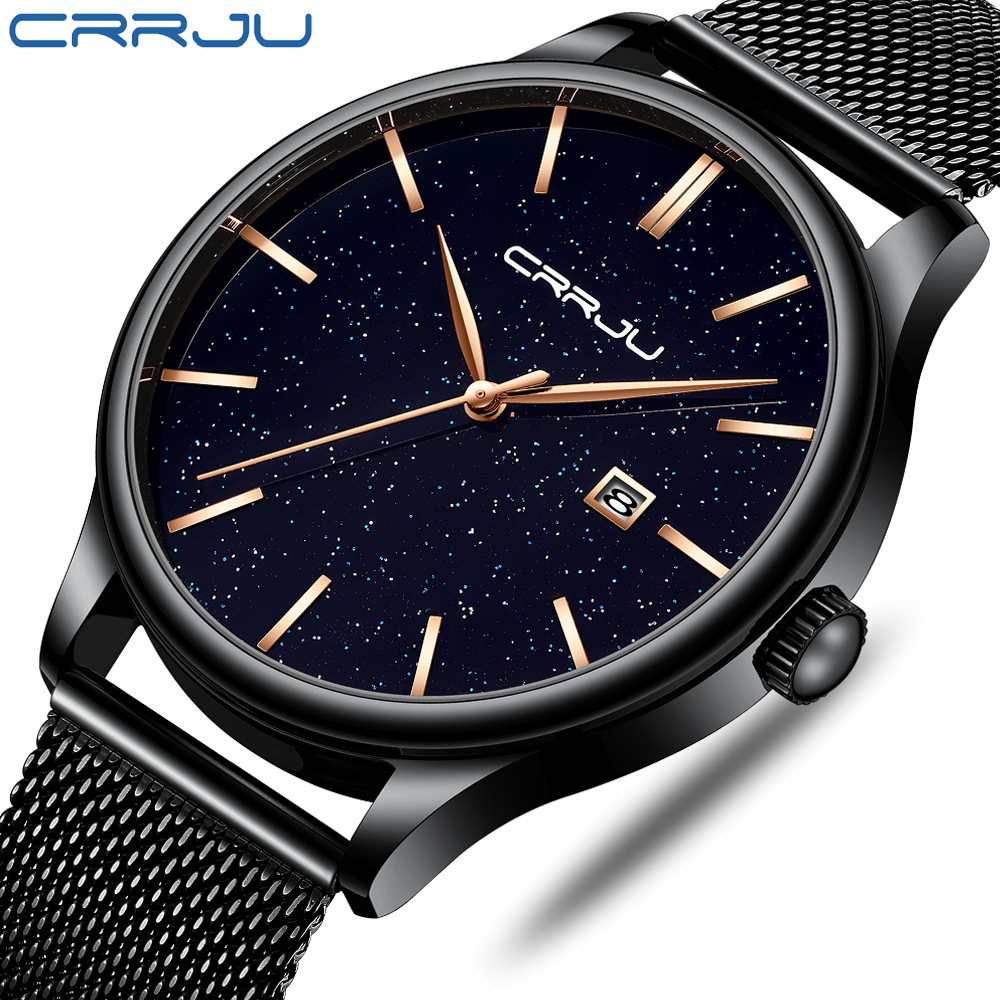 New Luxury CRRJU Brand Men Watches Mens Gold Pointer Stainless Steel Watches Casual Dress Quartz Wristwatch relogio masculinoNew Luxury CRRJU Brand Men Watches Mens Gold Pointer Stainless Steel Watches Casual Dress Quartz Wristwatch relogio masculino