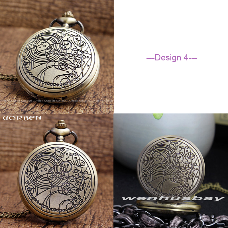 Who Pocket Watch For Men With Fob Chain Doctor Who Uk The United Kindom Watches Hollow Engrave Mens Bronze Flip Case Clock Watches Dr