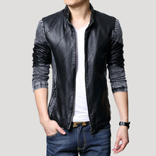 In the autumn of 2015 installed car leather PU stitching cowboy coat of cultivate one's morality leather jackets big yards