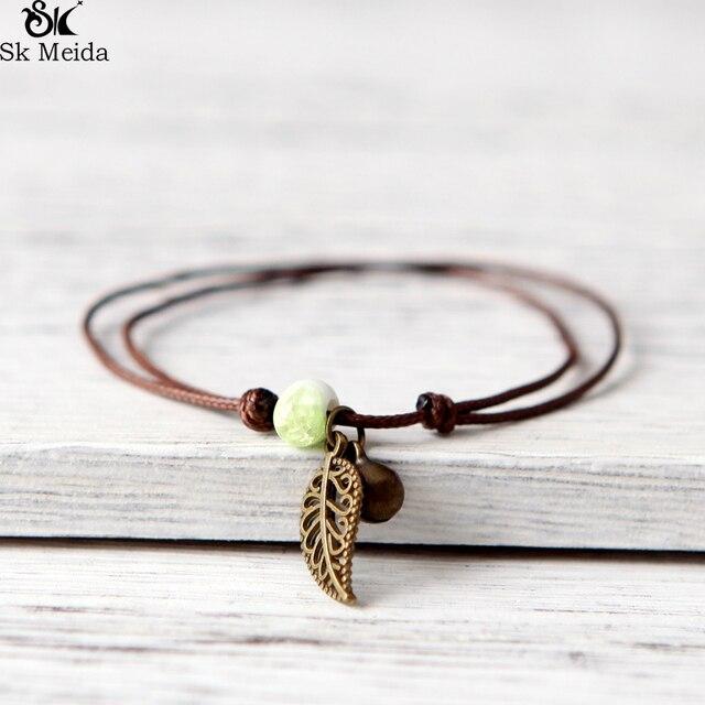Ceramic Beaded Bracelet Anklet Couples Boudoir Bohemian Vintage Pendant Rope Cha
