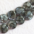 "Fashion coin labradorite natural stone 16mm new round cake loose beads wholesale retail diy Jewelry 15""B773"