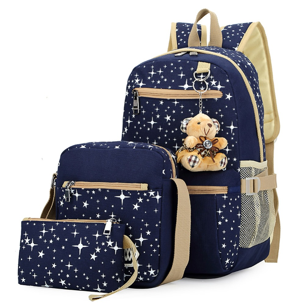 3pcs set Women Canvas Backpack for Teenagers Girls School Bags Korean Rucksack Ethnic Stars Printing Backpacks