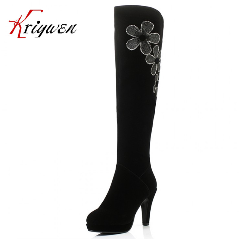 Big Size34-40 Women's Spring/Autumn Winter Folding Over Knee Boots Sexy Thin High Heel Boots Fashion platforms Boots Women Shoes nasipal 2017 new women pu sexy fashion over the knee boots sexy thin high heel boots platform woman shoes big size 34 43 g804