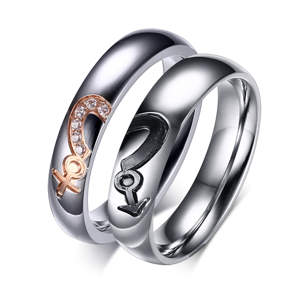 Free Engraving Heart Puzzle Design Couple's Stainless Steel Gay Lesbian  Pride Rings(china (mainland