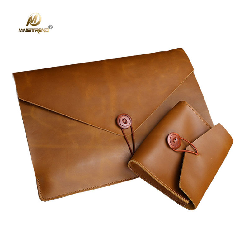 Mimiatrend for Macbook Air 13 Case Retro Genuine Cow Leather Bag for Macbook Pro 11 13 15 inch laptop with Mouse Charger Pouch jisoncase laptop sleeve case for macbook air 13 12 11 case genuine leather laptop bag unisex pouch for macbook pro 13 inch cover