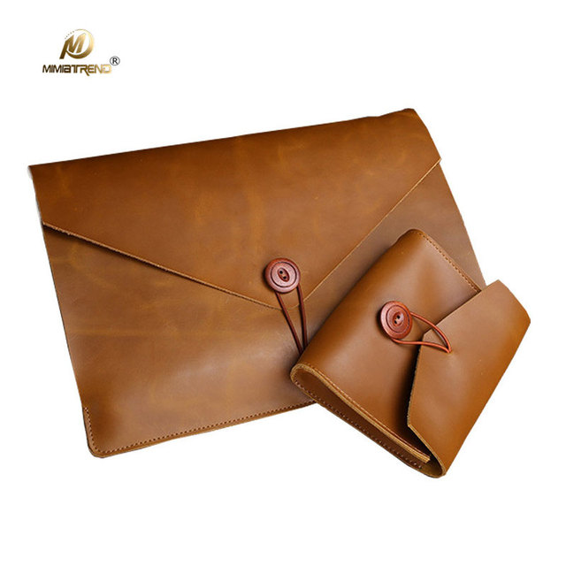 pretty nice 1ef54 9a9d9 US $30.67 48% OFF Mimiatrend for Macbook Air 13 Case Retro Genuine Cow  Leather Bag for Macbook Pro 11 13 15 inch laptop with Mouse Charger  Pouch-in ...