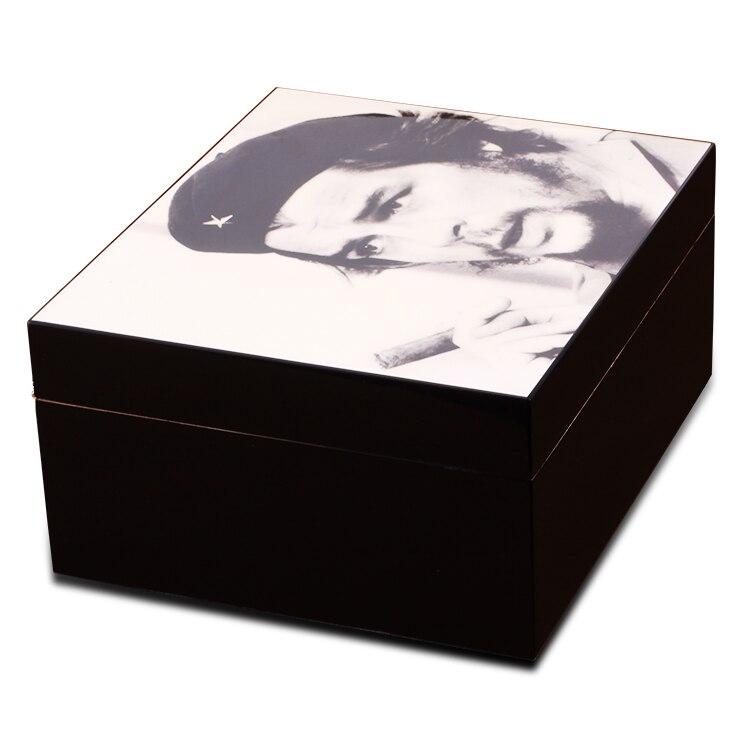 CHE Guevara Klassieke Stijl Zwart Cederhout Sigaar Humidor Voor 20 30 Sigaren Opbergkast Sigaar Box W/ hygrometer Luchtbevochtiger - 5
