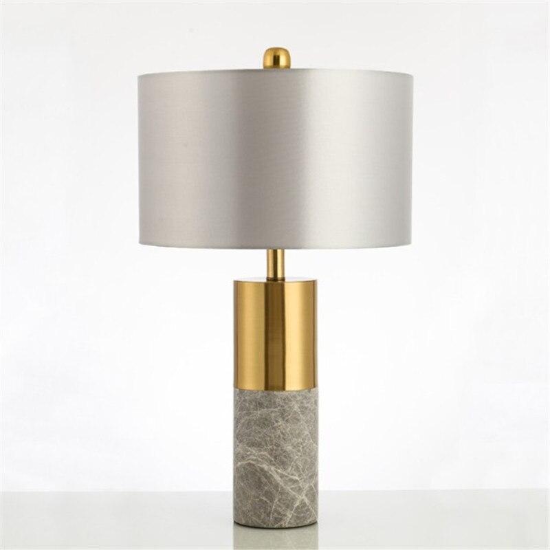 Moderne De Luxe Concepteur de Lumière Lampe De Table En Marbre Salon Chambre De Chevet Tissu Abat-Jour Accueil Éclairage Fixtrues E27 110-220 v