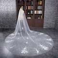 Velos De Novia 3 Meters White Flower Blings Sparkling Lace Edge Long Cathedral Wedding Veils Bridal Gowns Accessories VL006
