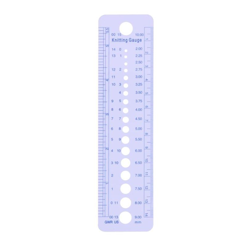 Plastic Sewing Accessories 1pcs Knitting Needle Inch Cm Ruler 2-10mm
