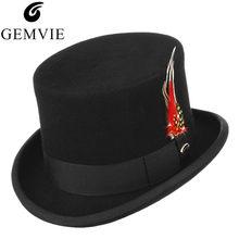 Retro hombres sombrero 100% lana Fedora Color sólido clásico tapa  Presidente partido Formal señores sombrero Cosplay Punk estilo. 05eb22c80c0