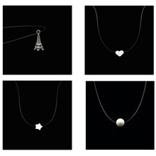 New Store Promotion Transparent Fish Line Love Heart Eiffel Tower Pearl Silver Short Necklace Women Chain Collier Femme