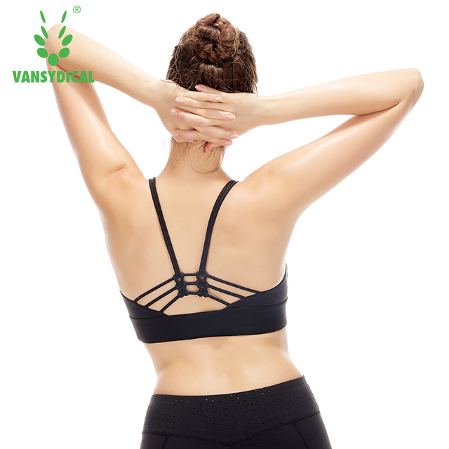 a07896cce1c2b Women Sports Bra Yoga Shirt with Padding Push Up Dry Quick Tank Tops For Running  Fitness
