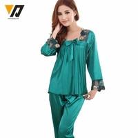 Pajama Sets Women Silk Pajamas Loungewear Pajama Set Silk Nightwear Sleepwear L 3XL Long Sleeve Two