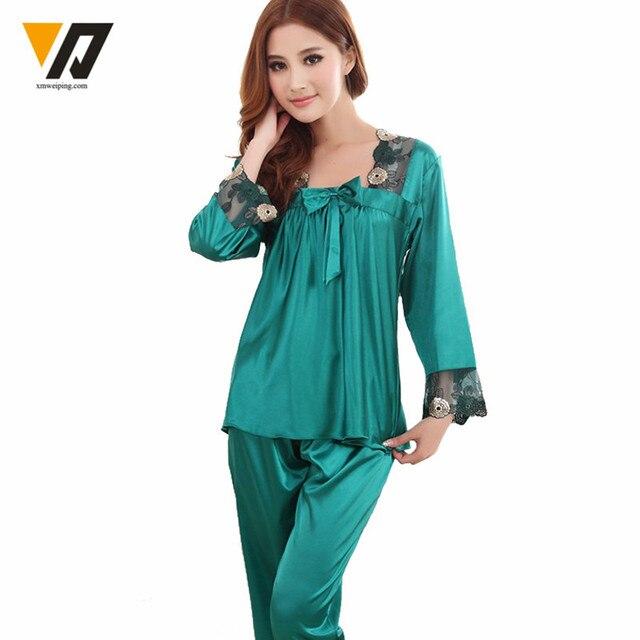 Womens Silk Pajamas Sets Spring Summer Female Lace Embroidered Satin Pyjamas Sleepwear Loungewear L-3XL