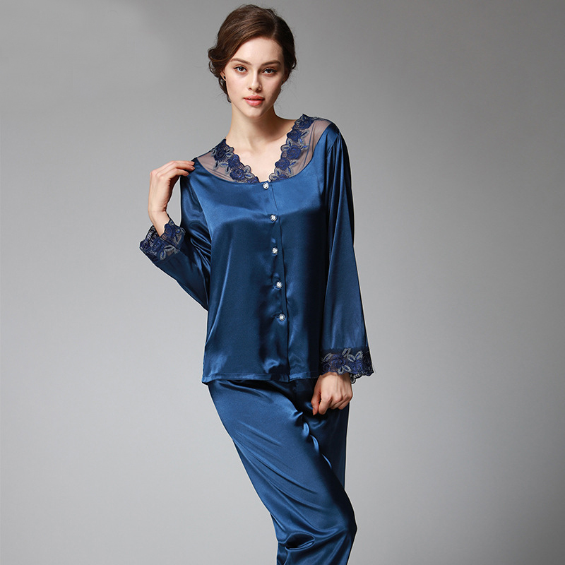 SSH037 Spring Autumn Women Satin Silk   Pajama     Set   Sleepcoat Sleep Pant High Quality Lady Nightdress Female Sexy Sleepwear   Pajamas