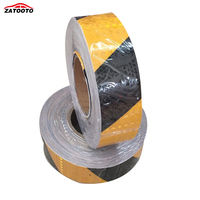 5CM*45M Yellow / Black Reflective Safety Warning Conspicuity Tape Film Sticker Roll Strip truck Warning Sticker