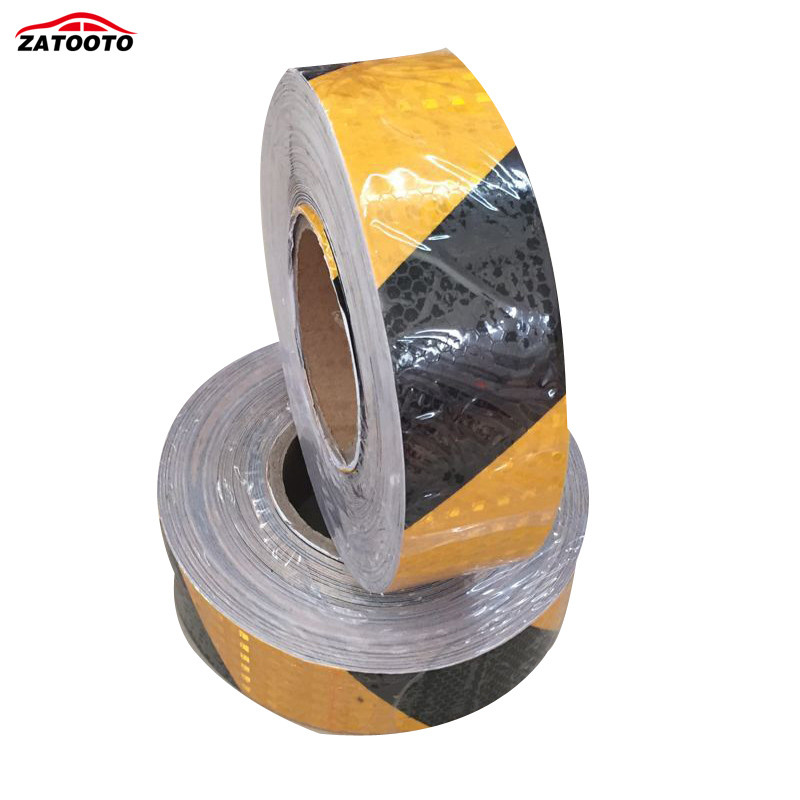 ZATOOTO 5CM 45M Yellow Black Reflective Safety Warning Conspicuity Tape Film Sticker Roll Strip truck Warning