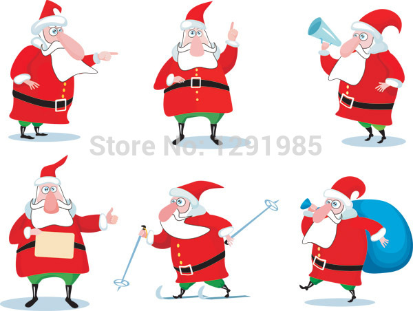 Father Christmas Stamps Adhesive Paper sticker Indoor ornament crafts Home Decor Removable wall sticker interior decor