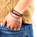 17KM New Design Fashion 100% Hand-Woven Leather Strap Men Bracelet Bangle Jewelry Rope Wrist Band Accessories for Women