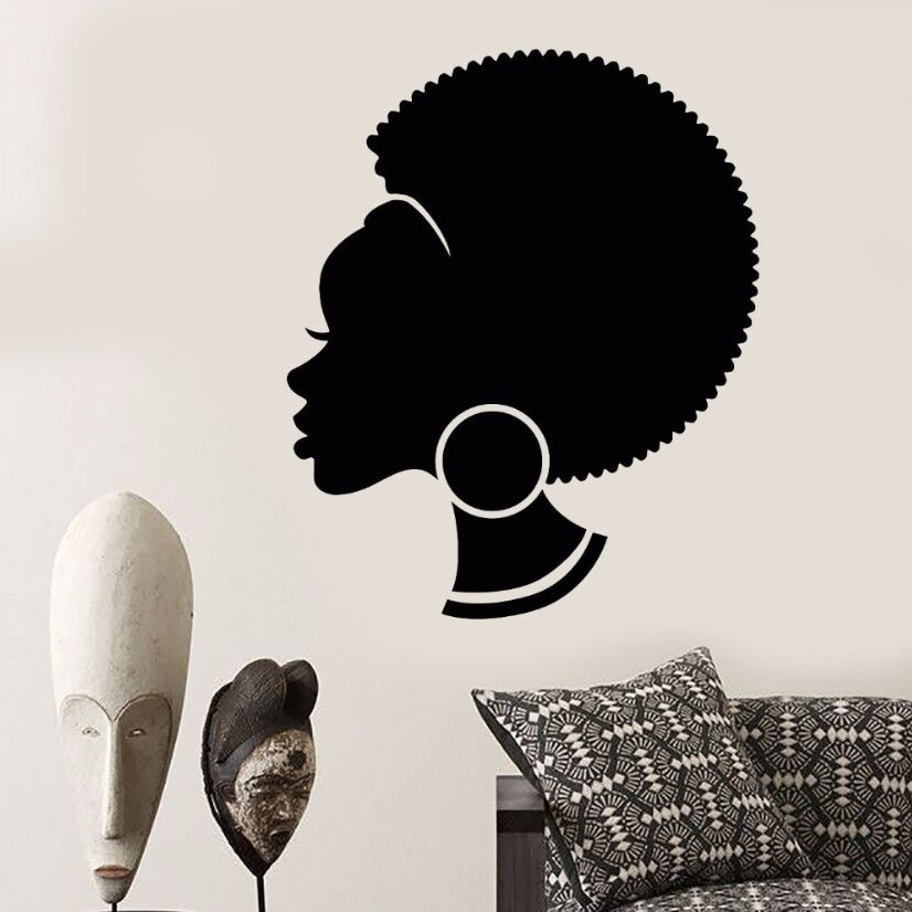 Vinyl Wall Decal Abstract African Woman Wall Sticker Removable Hairstyle Black Girl Wall Art Mural Salon Shop Design Decor AY582