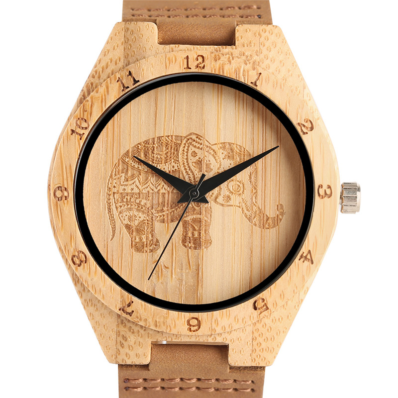 2017 Top Brand Natural Bamboo Wood Watch Mens Elephant Pattern Quartz Wristwatch Male Simple Sports Genuine Leather Clock Gift classic style natural bamboo wood watches analog ladies womens quartz watch simple genuine leather relojes mujer marca de lujo