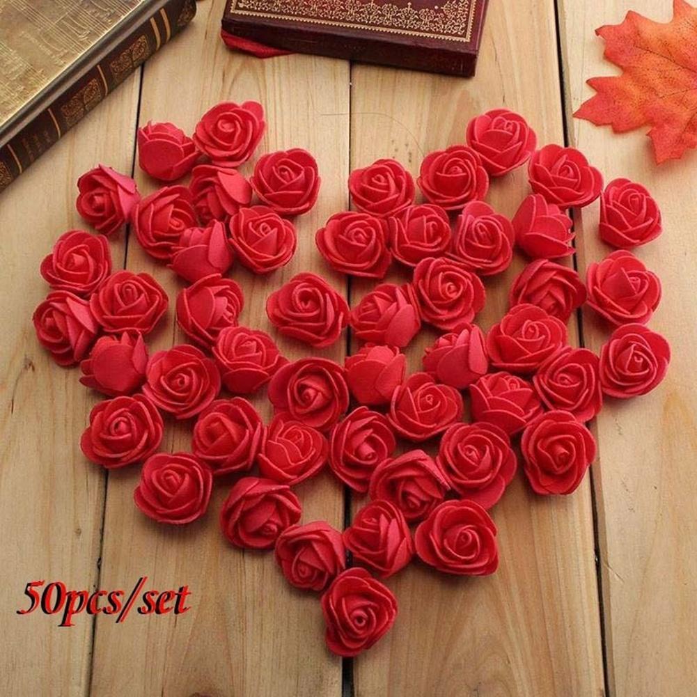 50 шт. Новый мини 3,5 см искусственные цветы для украшения Пена розы Свадебный букет невесты Вечерние поддельные цветы домашний декор