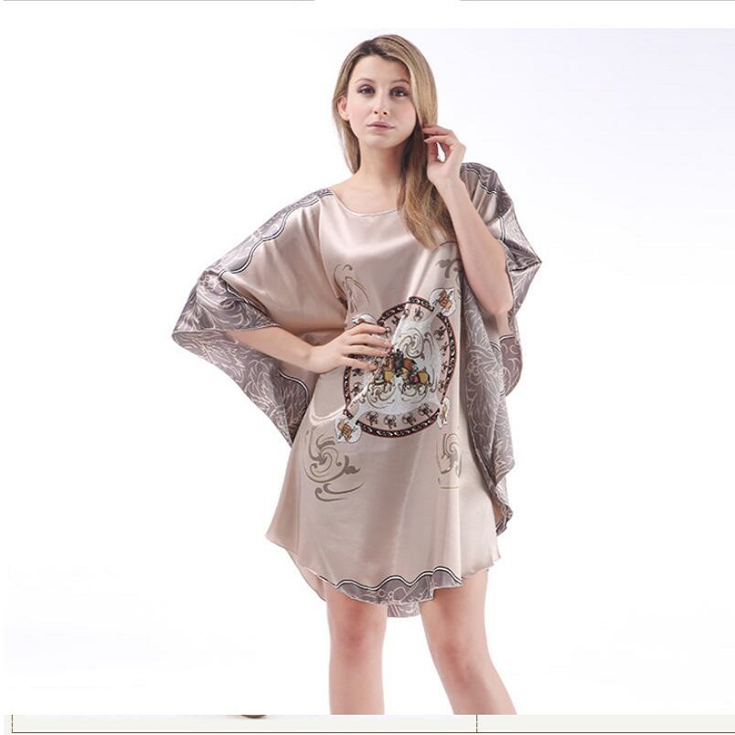 Pink Nightgowns Sleepshirts Plus Size Silk Lady Sleepwear Dressing