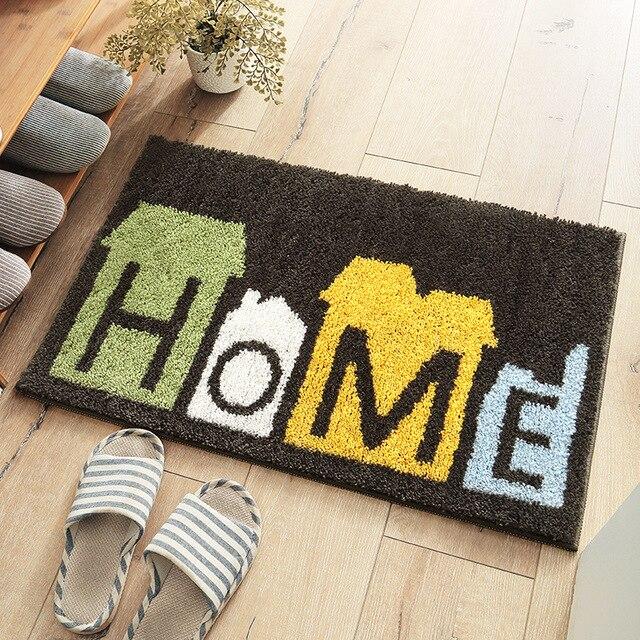 Black door mat home green leaf Floor mat small rugs for bathroom 45*60cm, 50*80cm door capret Antislip gate pad flocking Nordic