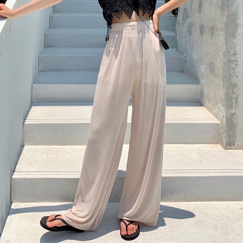 Daeyard Women Summer Thin Silk Trousers Wide Leg Loose Pants Casual Trouser High Waist Long Fashion Sweatpants Large Size