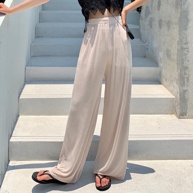 Daeyard Women Summer Thin Silk Trousers Wide Leg Loose Pants Casual Trouser High Waist Long Fashion Sweatpants Large Size